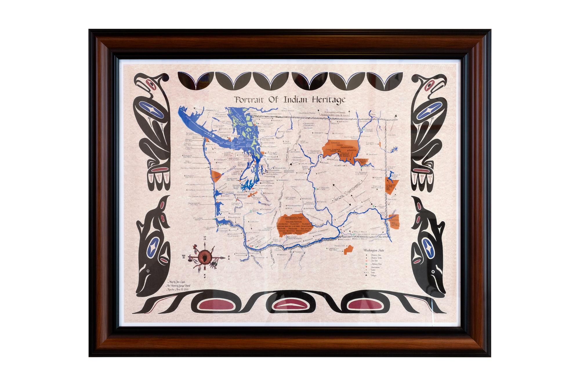 Portrait of Indian Heritage: Washington Map