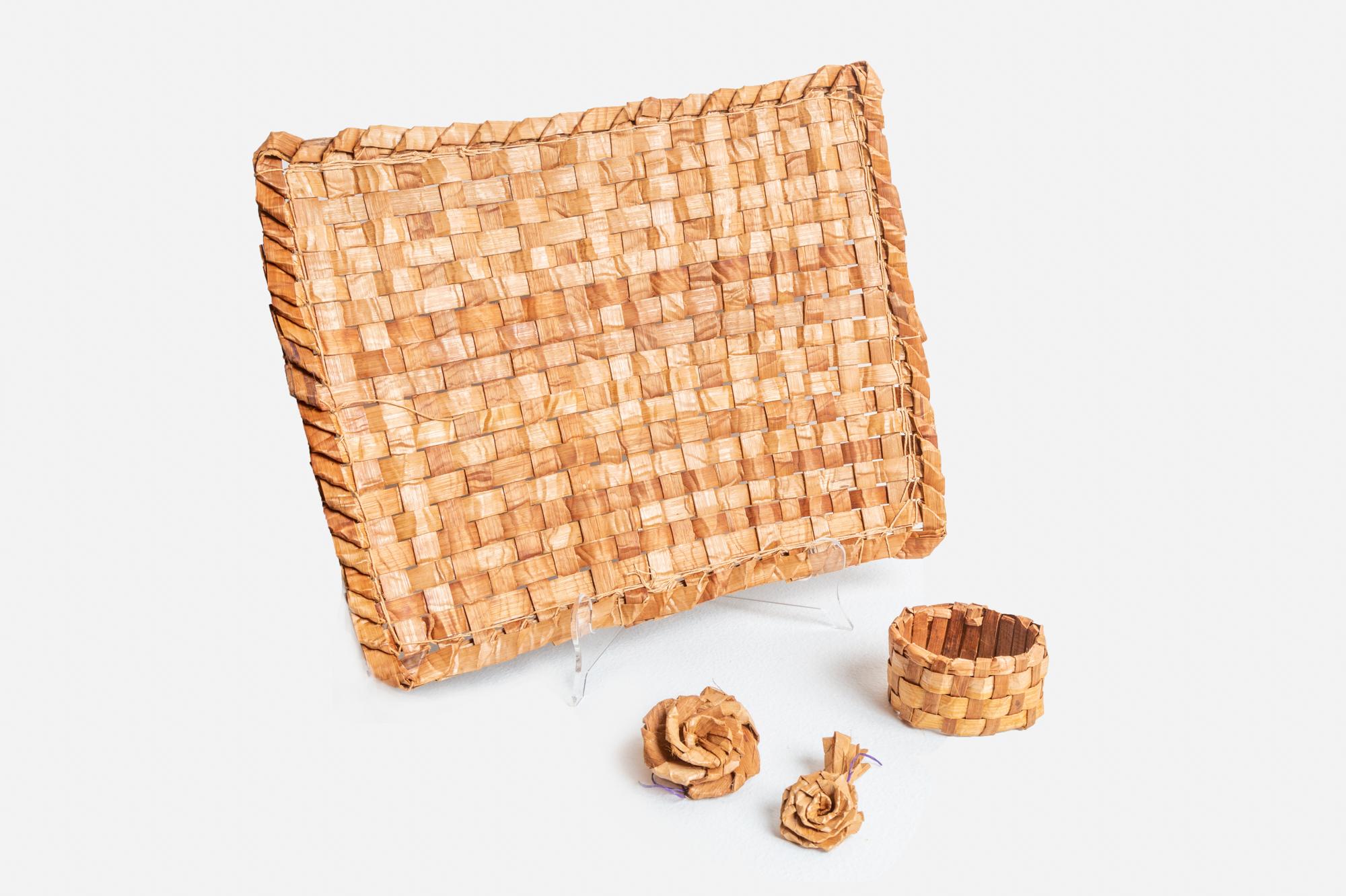Cedar Mat, Bracelet, and Roses