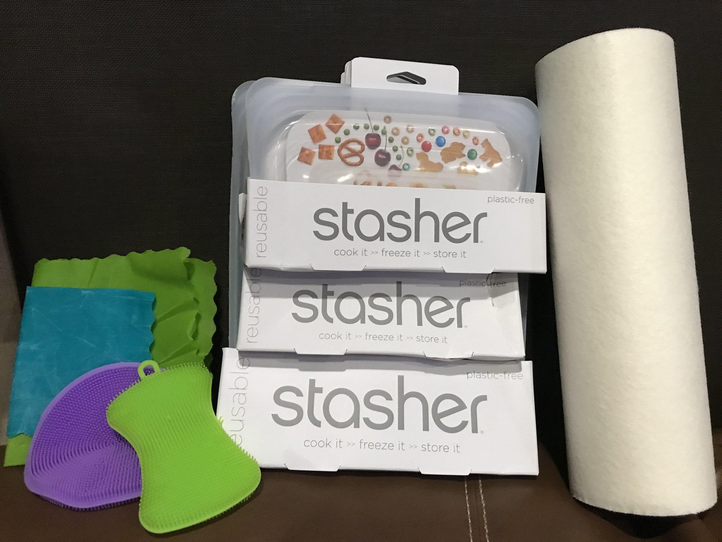 Beeswax food wrap, reusable silicone sponge, reusable silicone bags, reusable towels