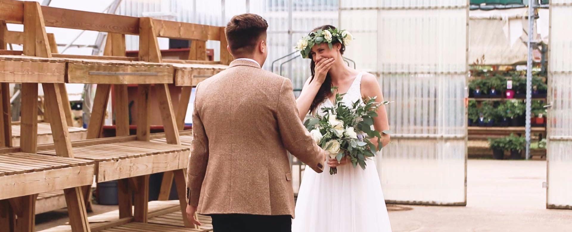 wedding first look in a greenhouse in Edmonton, Alberta