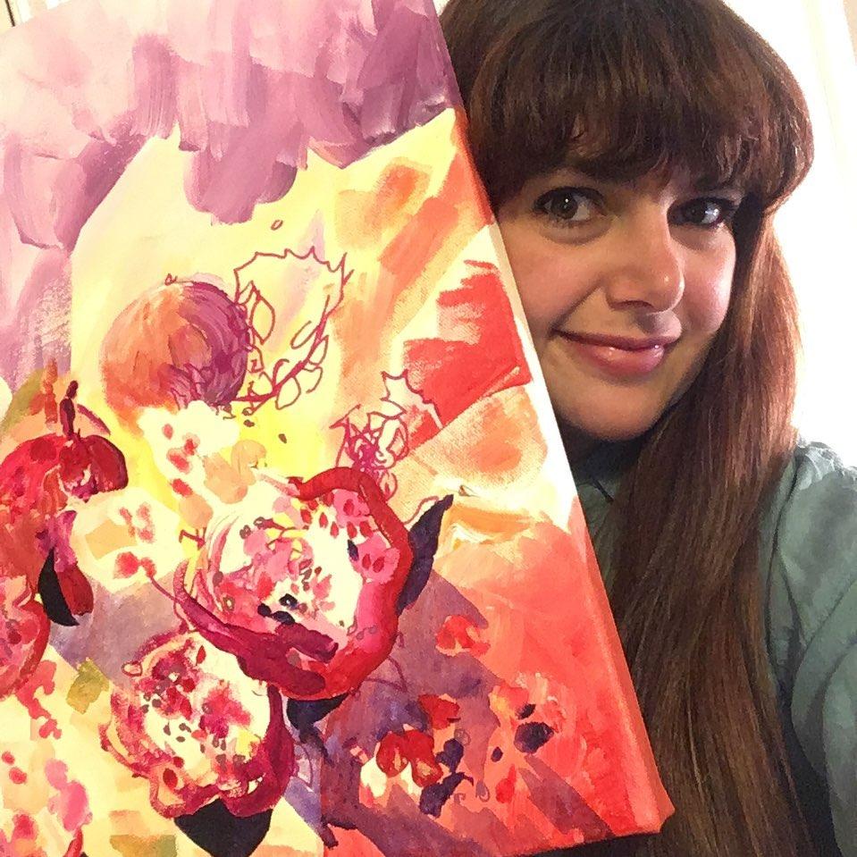 """Heart Bursts Like Pomegranate"", acrylic on 18"" x18'"" canvas, Rose Wintergreen, 2019"