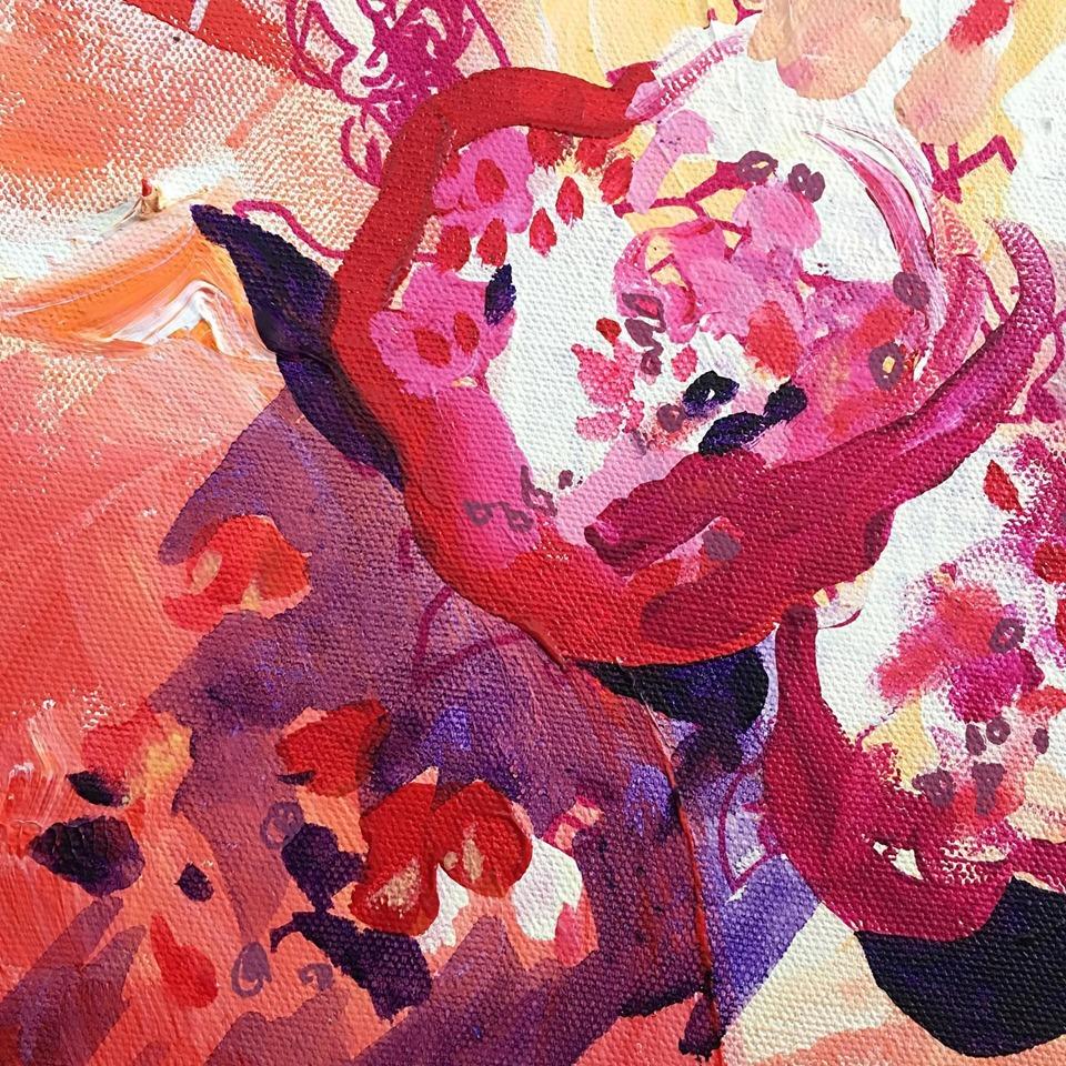 "Detail: ""Heart Bursts Like Pomegranate"", acrylic on canvas, 18"" x 18"", Rose Wintergreen, 2019"