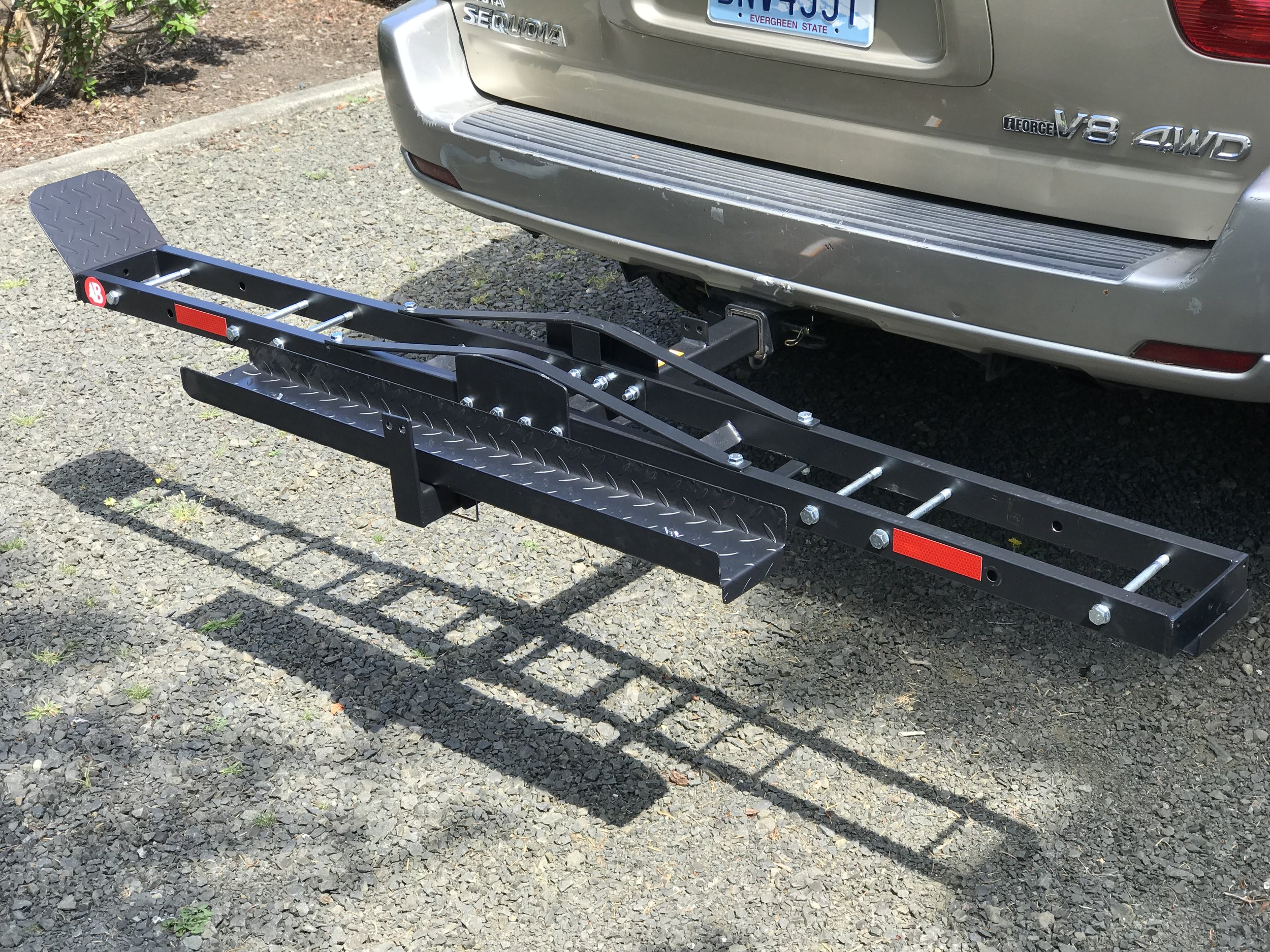 BikeMaster's Motorcycle Carrier comes with a loading ramp that secures behind the main support.