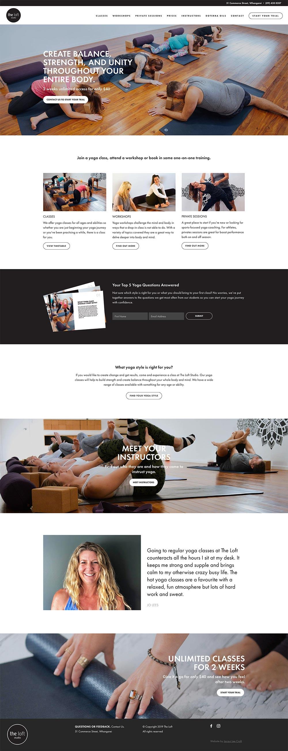 THE LOFT STUDIO  | WEBSITE DESIGN & BUILD