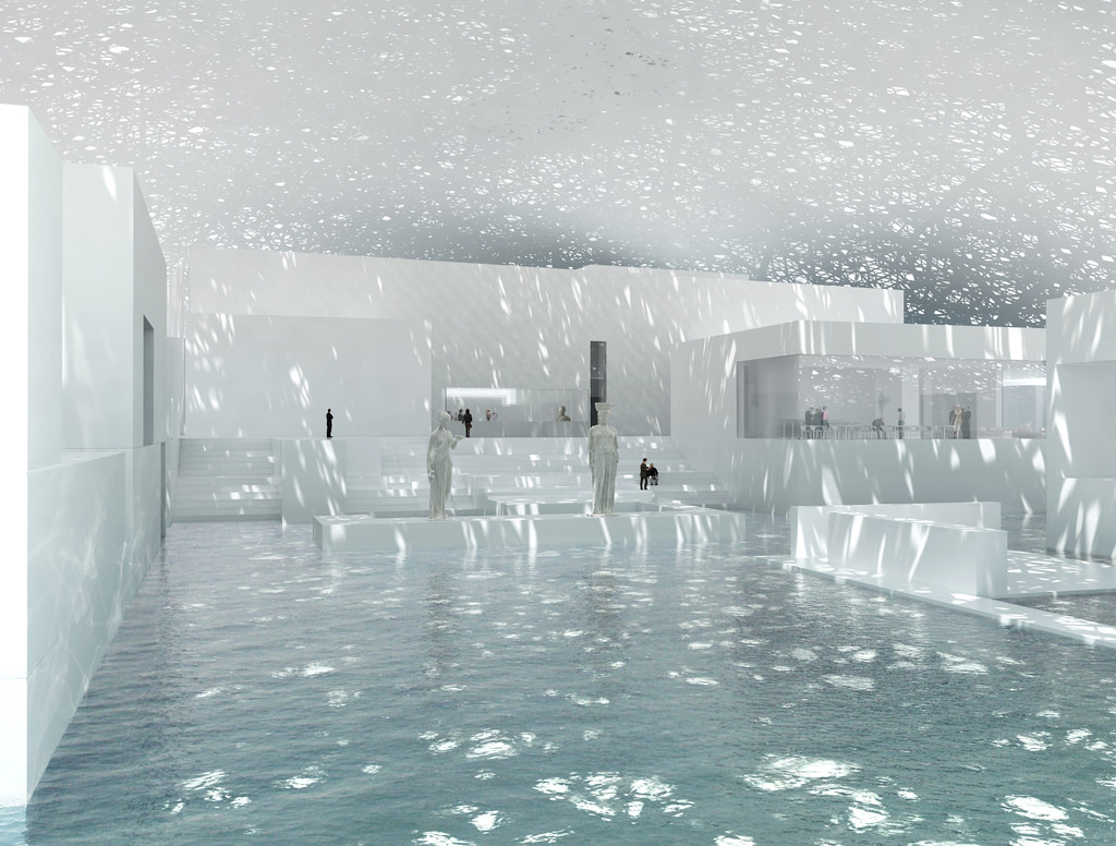 """The Louvre Abu Dhabi is covered by a    floating dome of light and shade    that lets """"a rain of light"""" inside.  