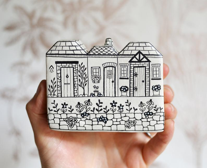 Illustrated Row of Houses via MaisieParkesDesign