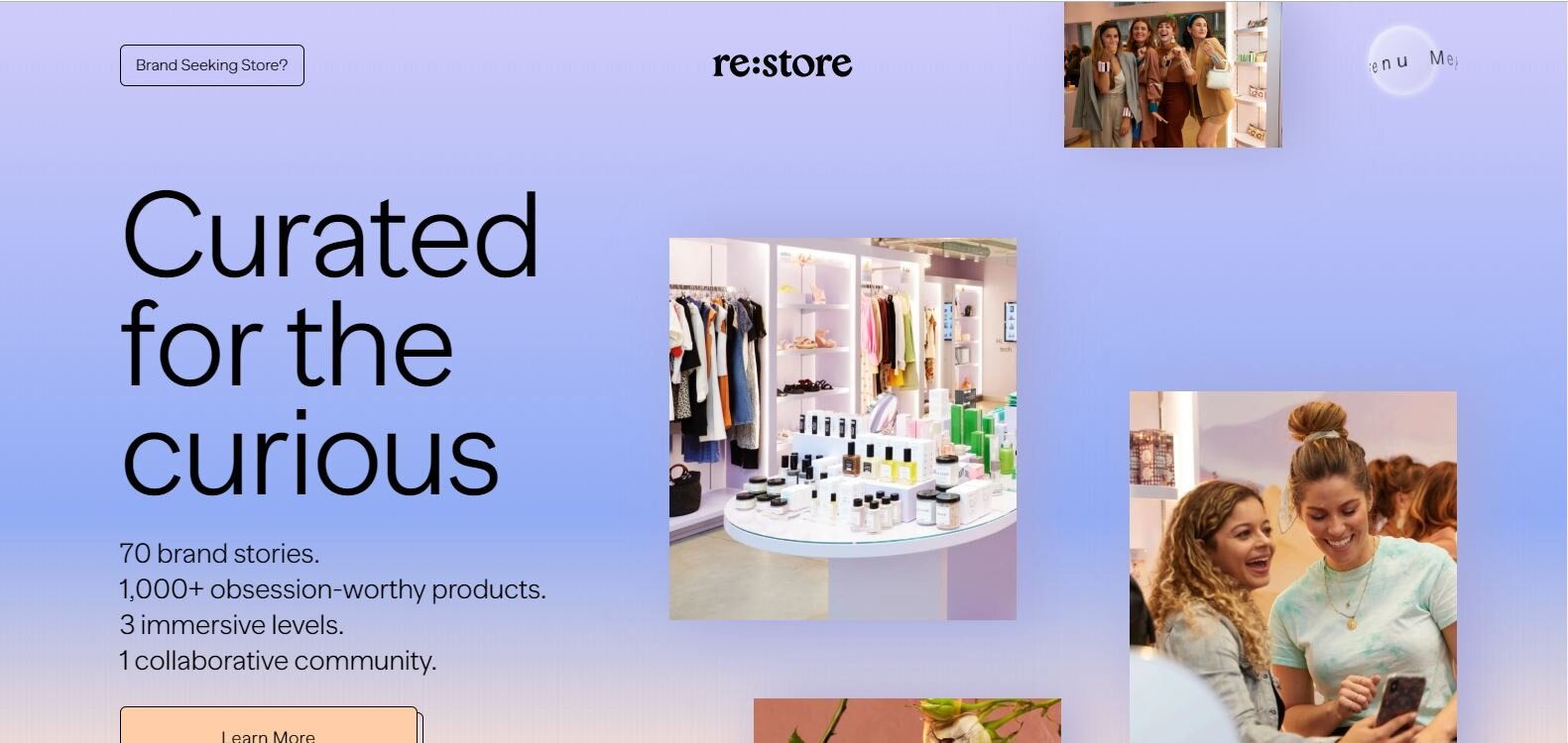 This colorful  re:store  homepage is anything but minimal. Go down the page to see the scrolling text that's becoming trendy on fashion sites.