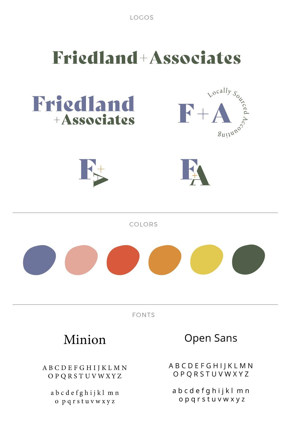 Some preliminary logo versions and the bright color palette for the website and illustrations
