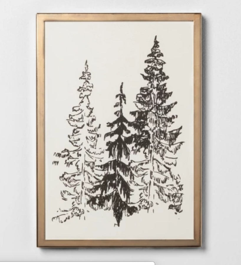 Tree Print - This gold framing and black and white print is perfect for any season!