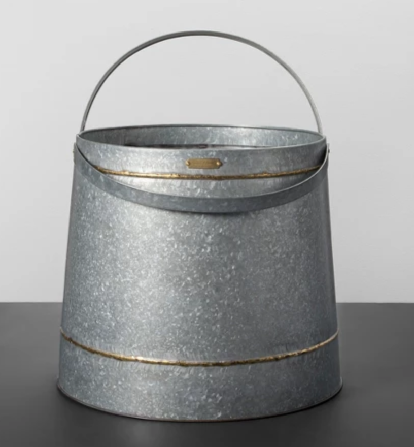 Galvanized Bucket - Love this galvanized bucket to go by the fireplace or in your living room to hold some blankets.