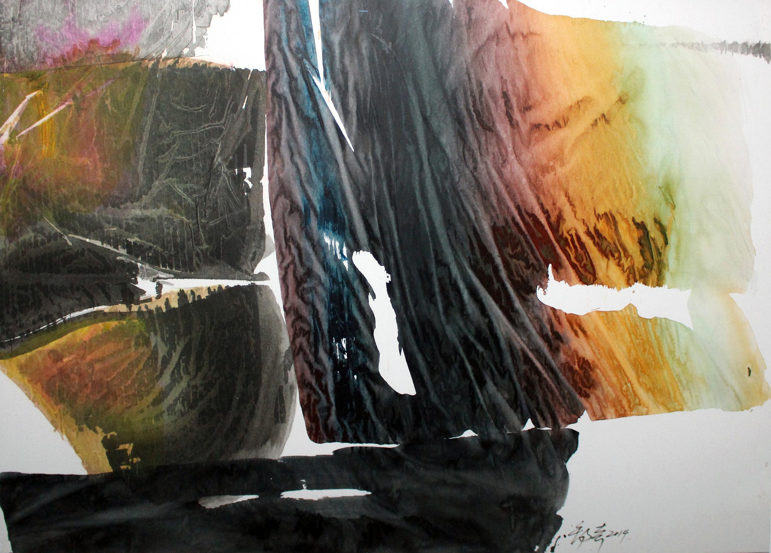 墨語 2014 Inktalk 2014 水墨設色紙本 Ink Colour on Paper 79cm(H) x 110cm(W) 2014.jpg