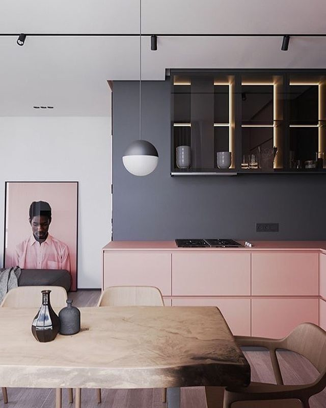 A dreamy kitchen in pink and grey and a touch of warm wood. What's not to love.  Source: @artpartner_architects www.javgohome.com  Design: Ruslan Kovalchuk, Mariya Chmut, Stephen Tsimbalyuk