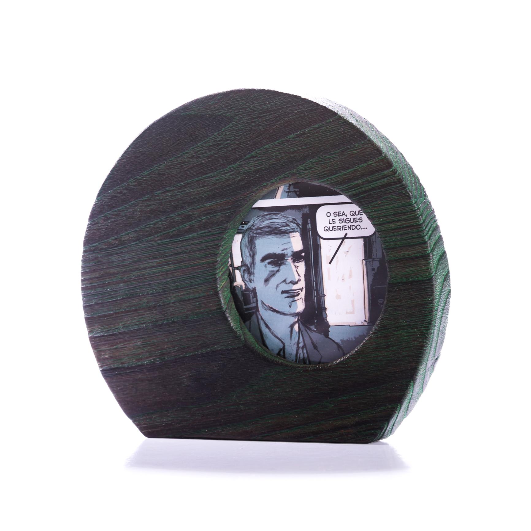 Porta retratos de castaño decapado en verde