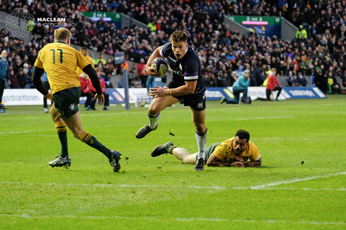 Scotland's Huw Jones attacking the Australian defence in the Autumn International at Murrayfield     FUJIFILM X-H1 + XF100-400mm f4.5/5.6 - 1/800 @ f4.7 ISO8000 (zoom - 145mm)