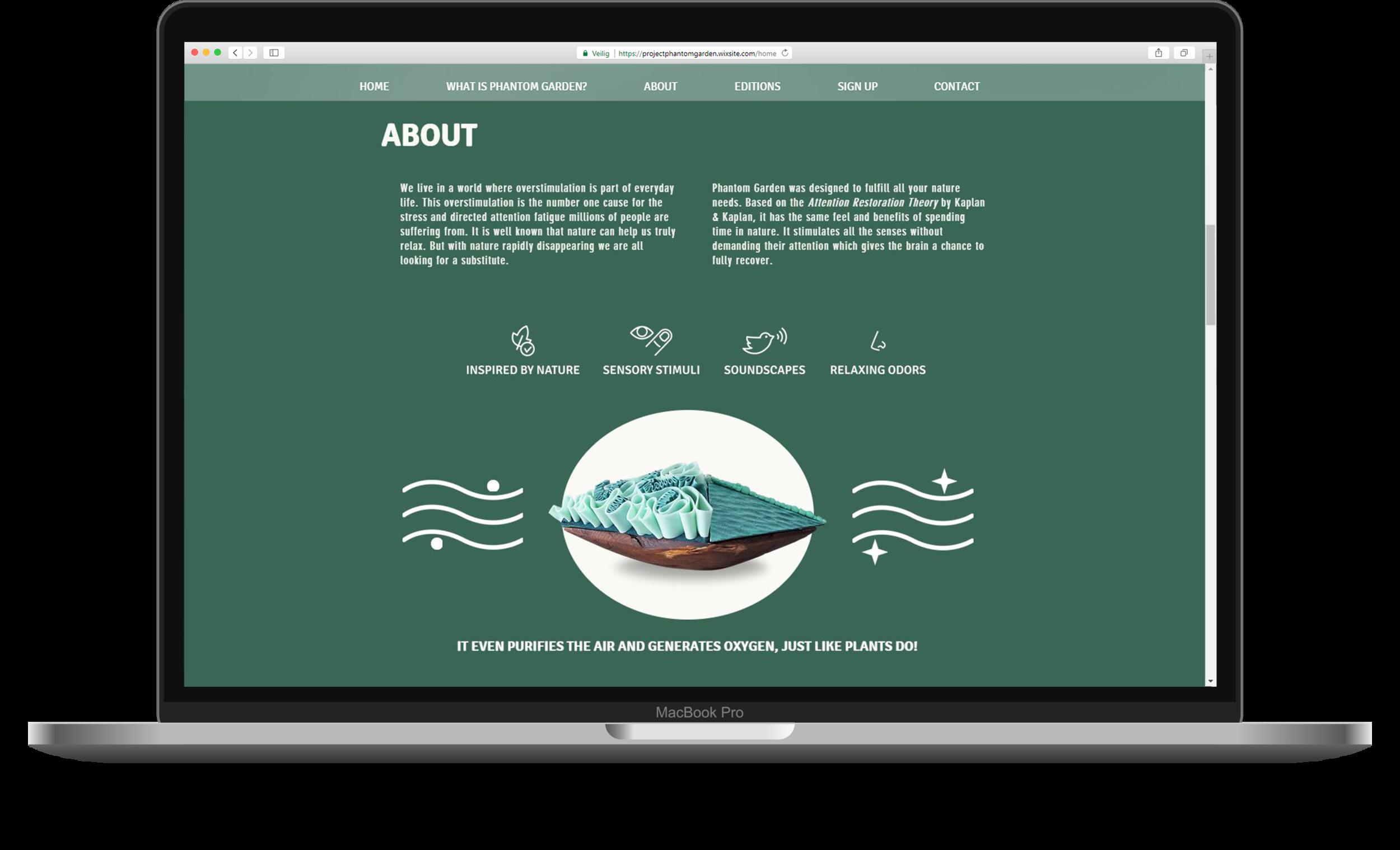 De bijbehorende website van Phantom Garden, met meer informatie over het product.