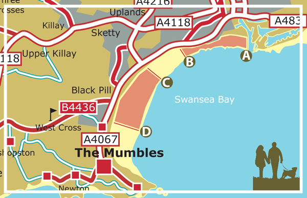 Map of Swansea Beach showing restricted dog walking area May 1st to September 30th