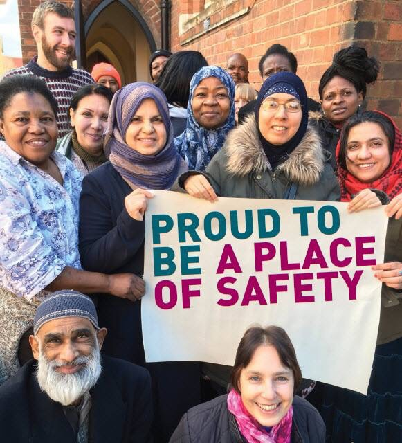 Shali Bullough (bottom right) and other volunteers from Leicester City of Sanctuary