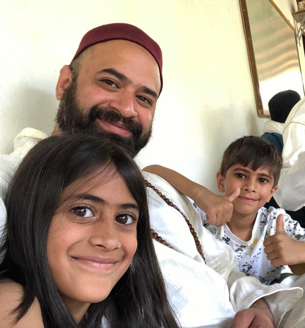 Ali Amla with his daughter Rahimah and son Zayn