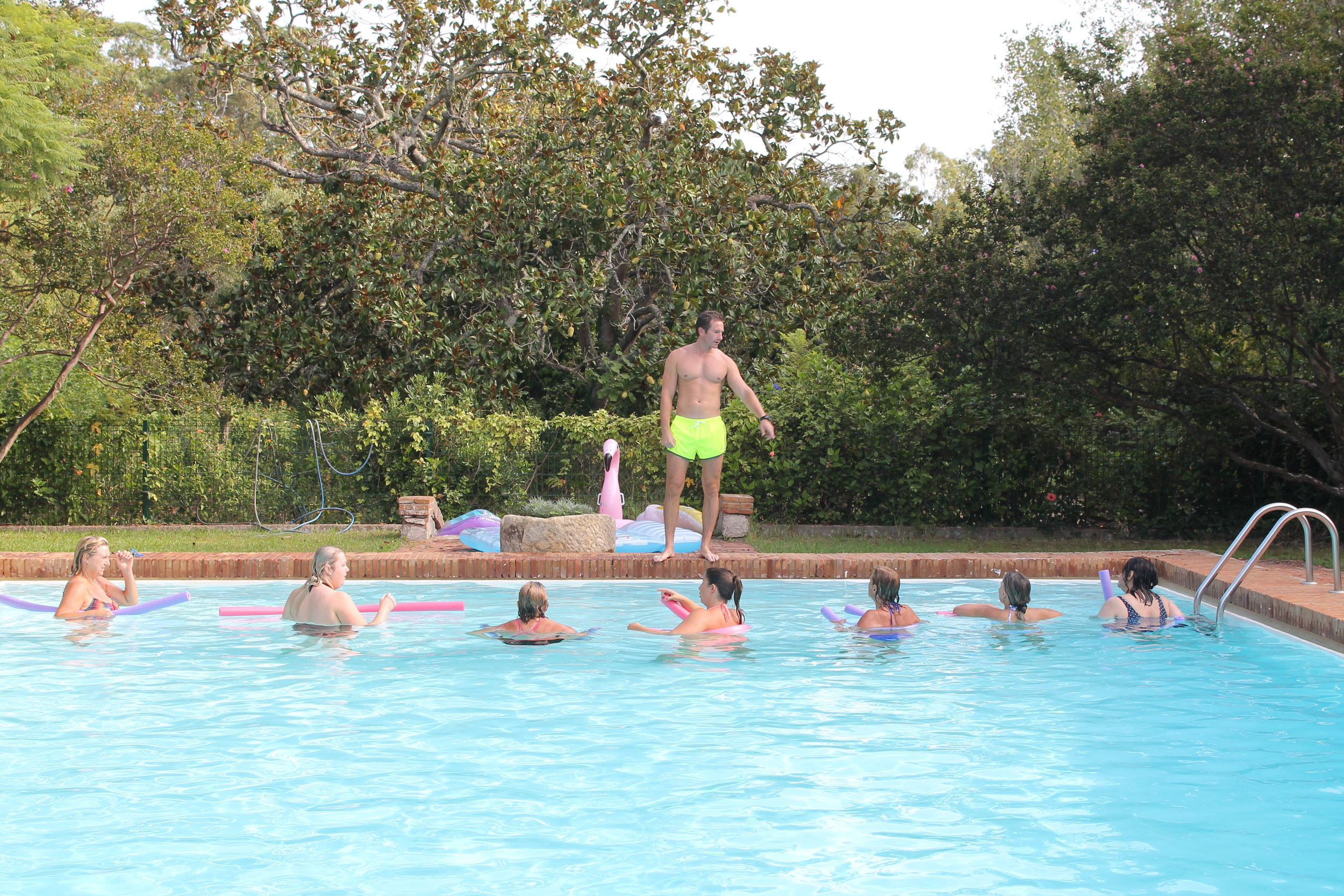 Aquarobics and pool games make the fitness retreat fun and interesting