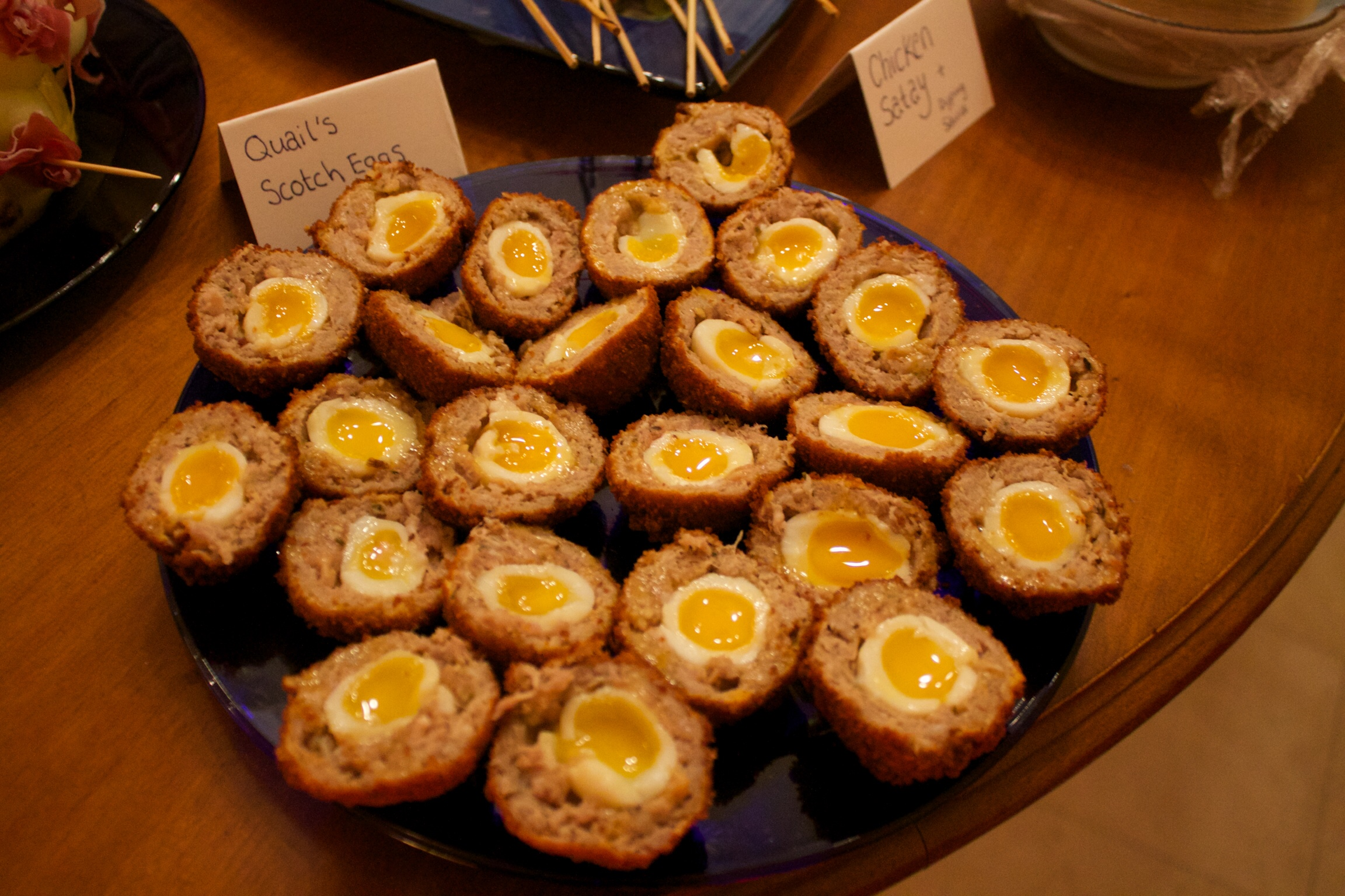 Naught Christmas finger food: Quails egg scotch eggs