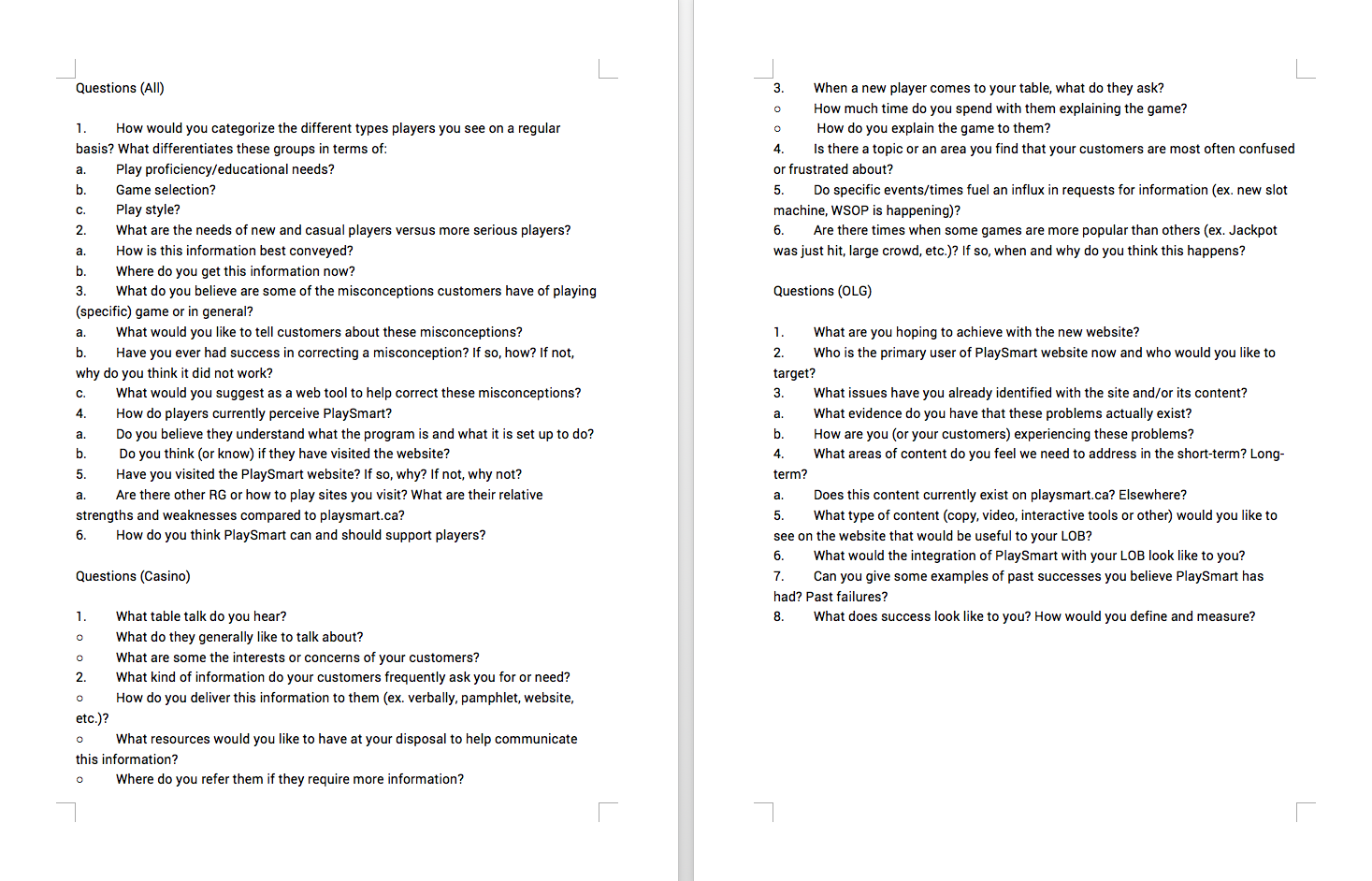 Stakeholder Interviews - Sample Questions