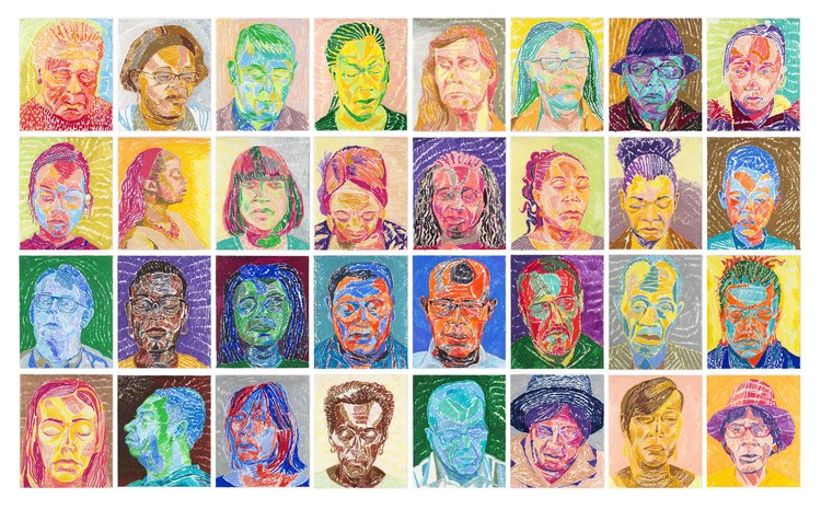 Silent Colour Meditation Project, 36 parishioners of St Matthew's Church, Willesden, London, 2017, each image: oil pastel on paper, 35 x 28 cm