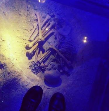 Creepy skeletons at the Rynek Underground Museum