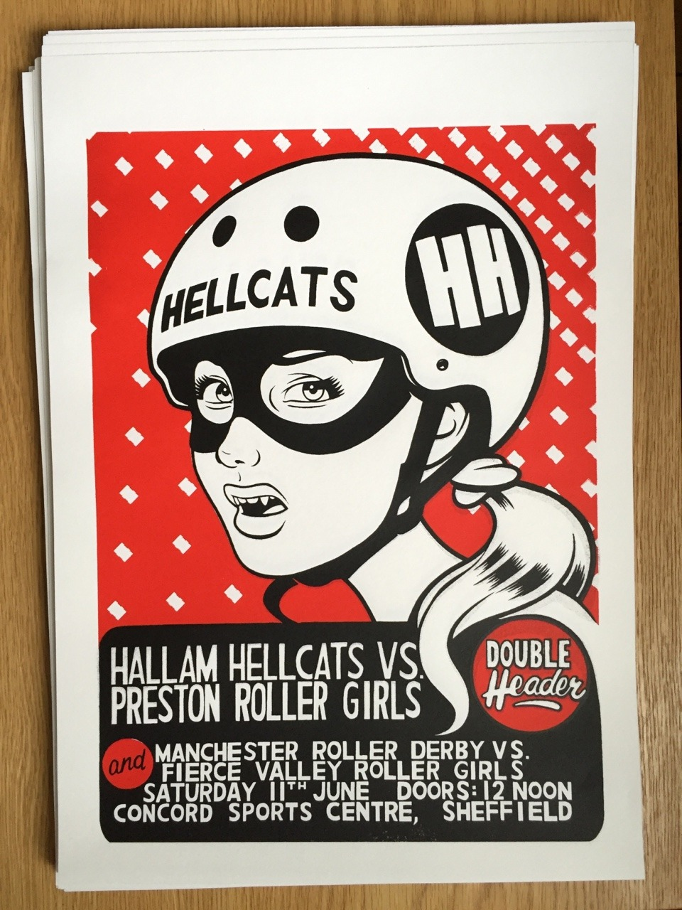 Screen printed poster for Hallam Hellcats Roller Derby, 2016.