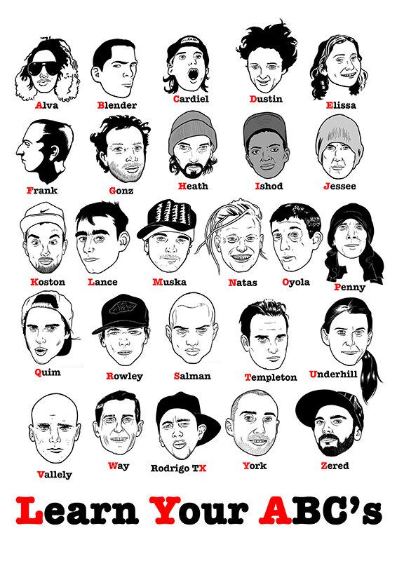 Skateboarder Alphabet.