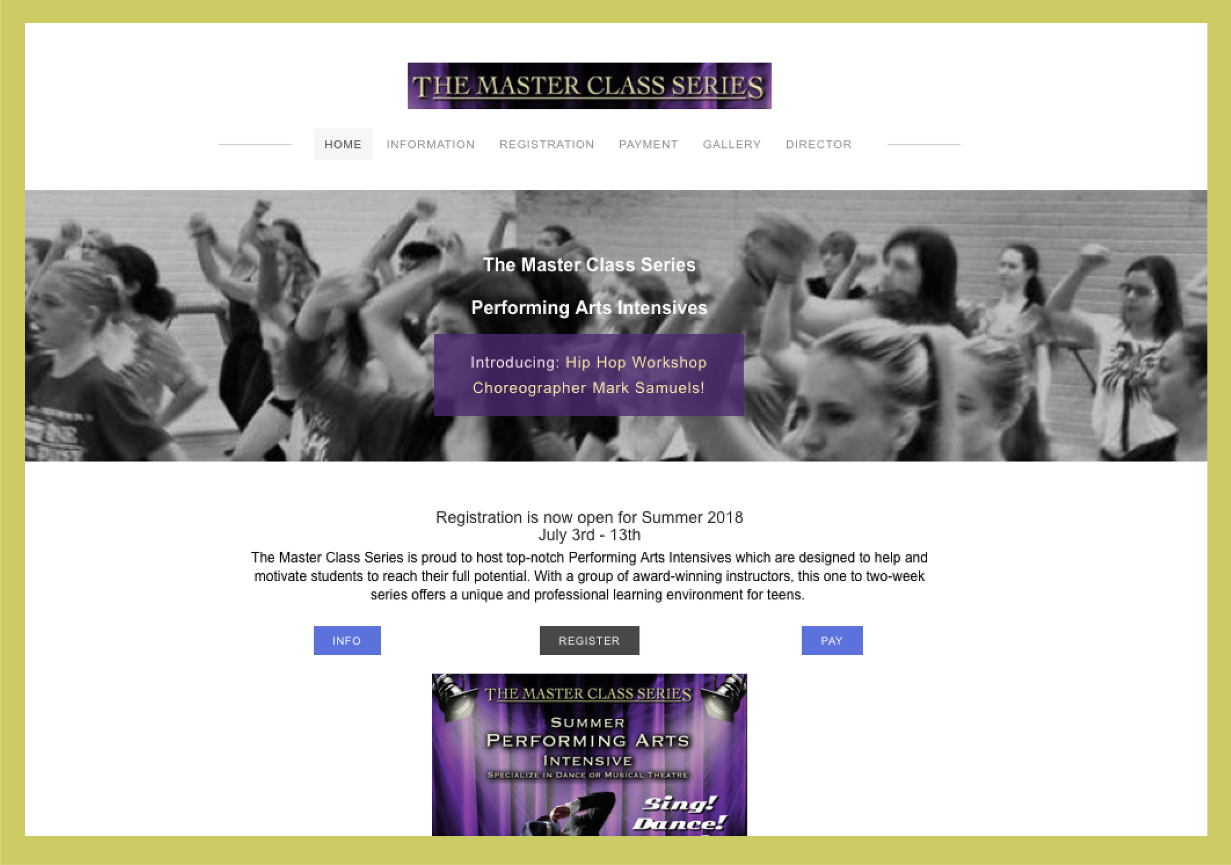 Website design - Master Class Intensives website