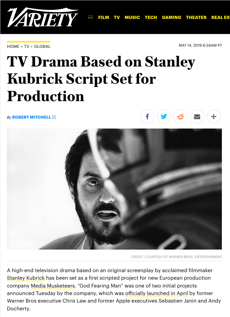 NEWS & PRESS: - VARIETY: May 14th 2019ForLan Films partners with Media Musketeers to bring Stanley Kubrick's, 'God Fearing Man' and sci-fi drama, 'Pulse' into production.