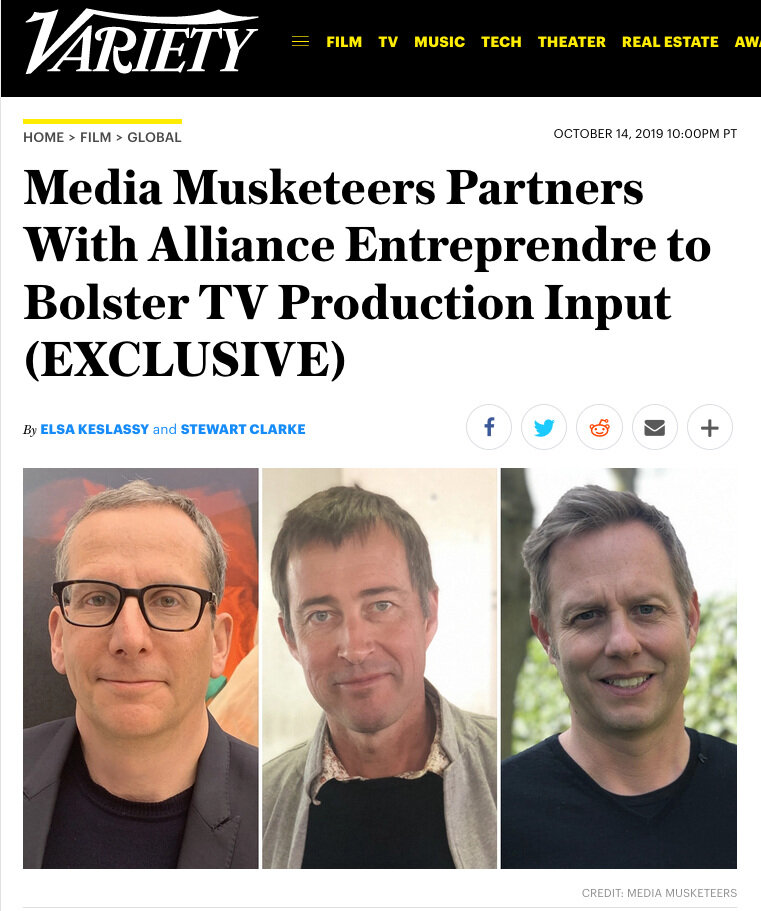 NEWS & PRESS: - VARIETY: October 14th 2019Media Musketeers partners with France's Alliance Entreprendre to develop and produce content valued at up to €1 billion over the next 5 years, kicking off with ForLan Films TV projects 'God Fearing Man' and 'Pulse'.