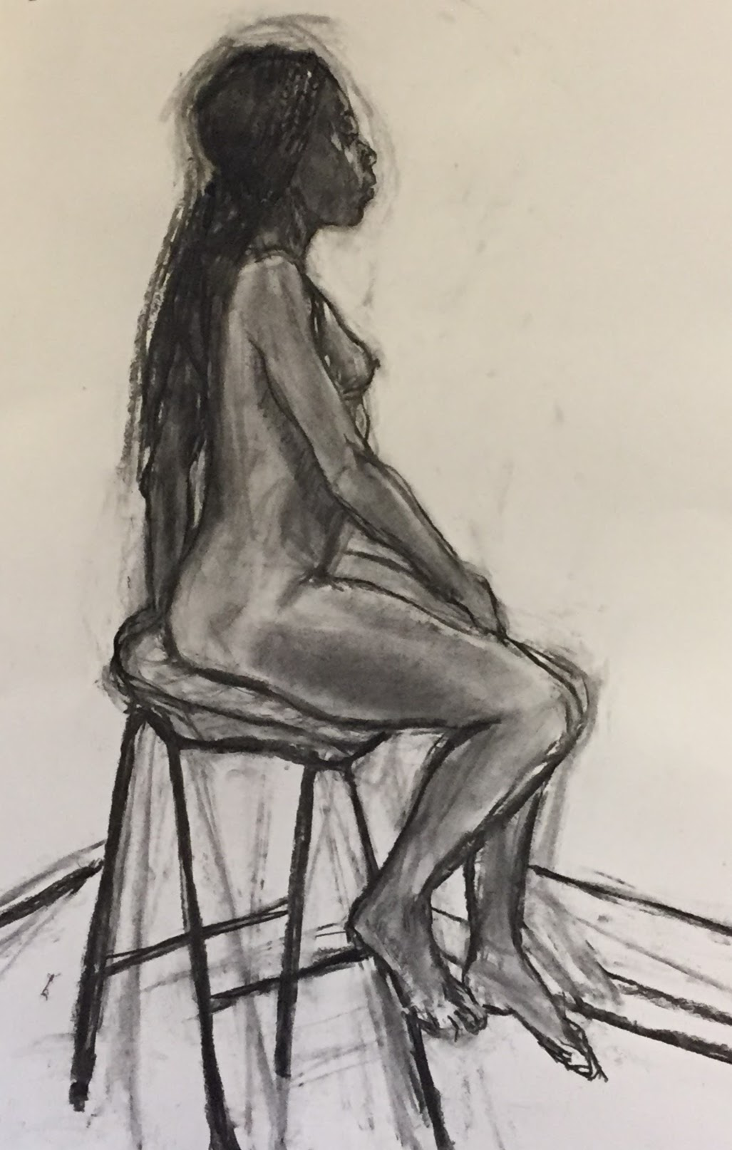 Seated Jacqui   Charcoal on paper  by Sally Hyman