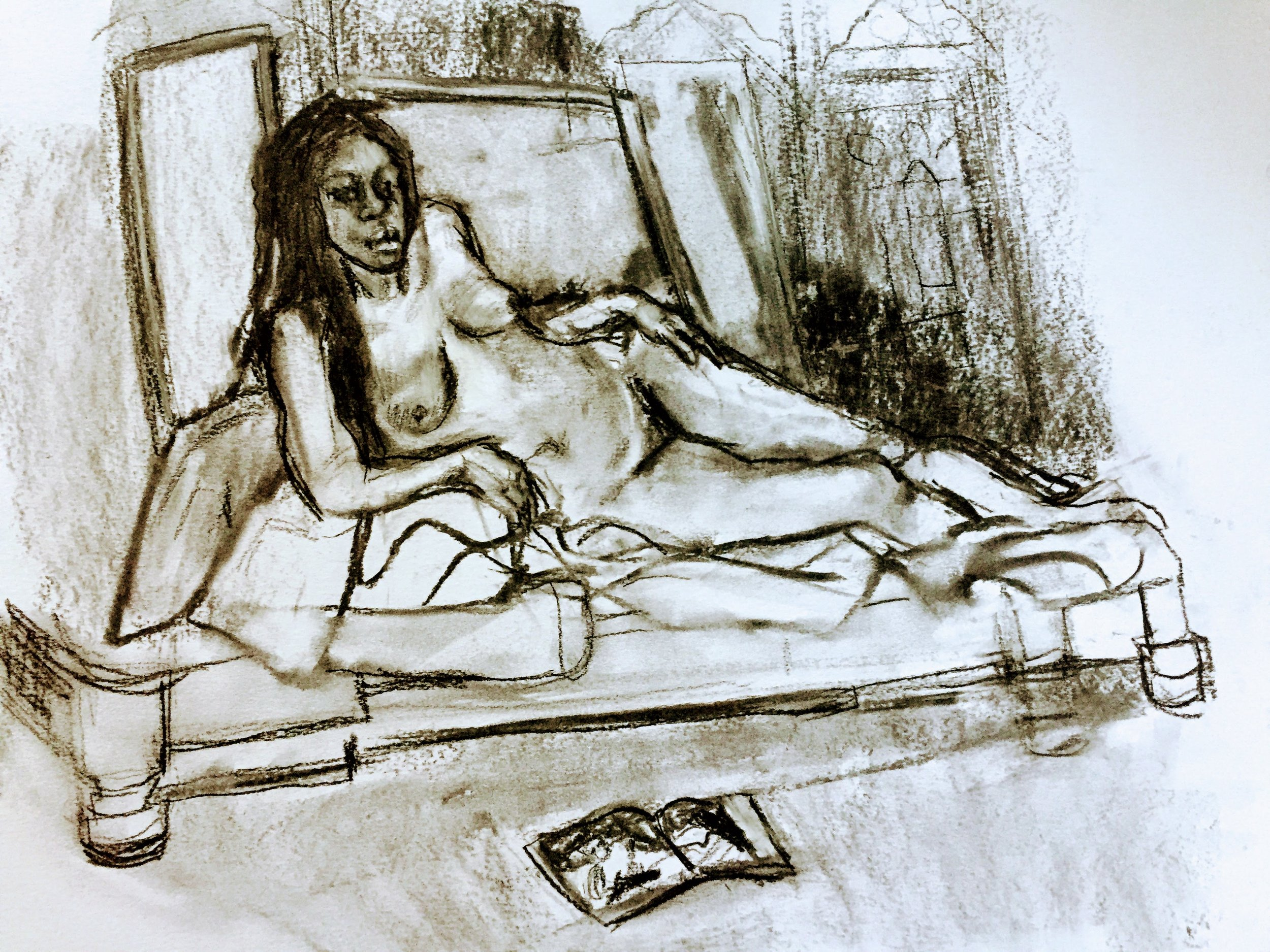 Reclining Jacqui   Charcoal on paper  by Sally Hyman