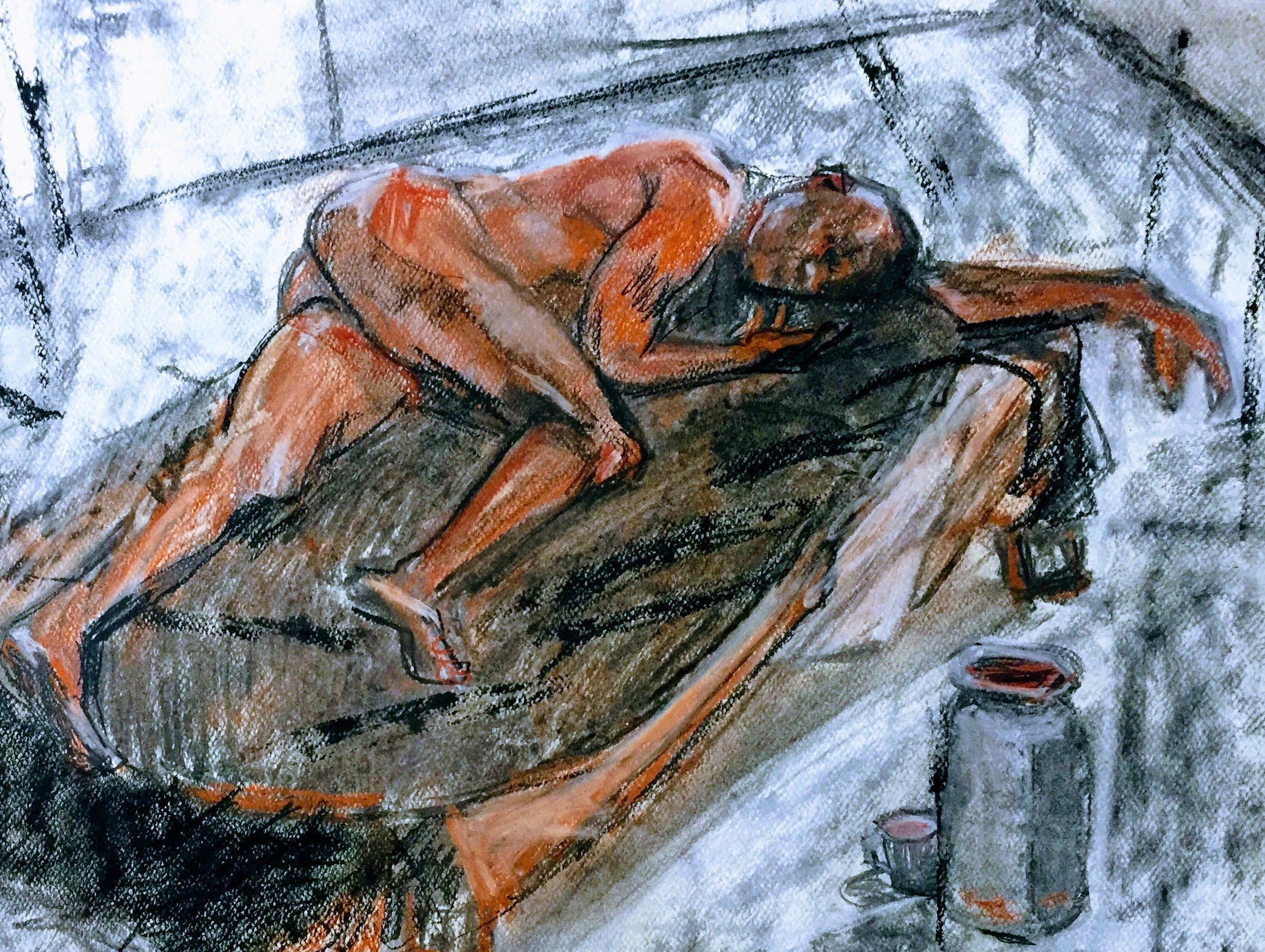Sleeping Model   Unison pastels and charcoal on paper  by Sally Hyman