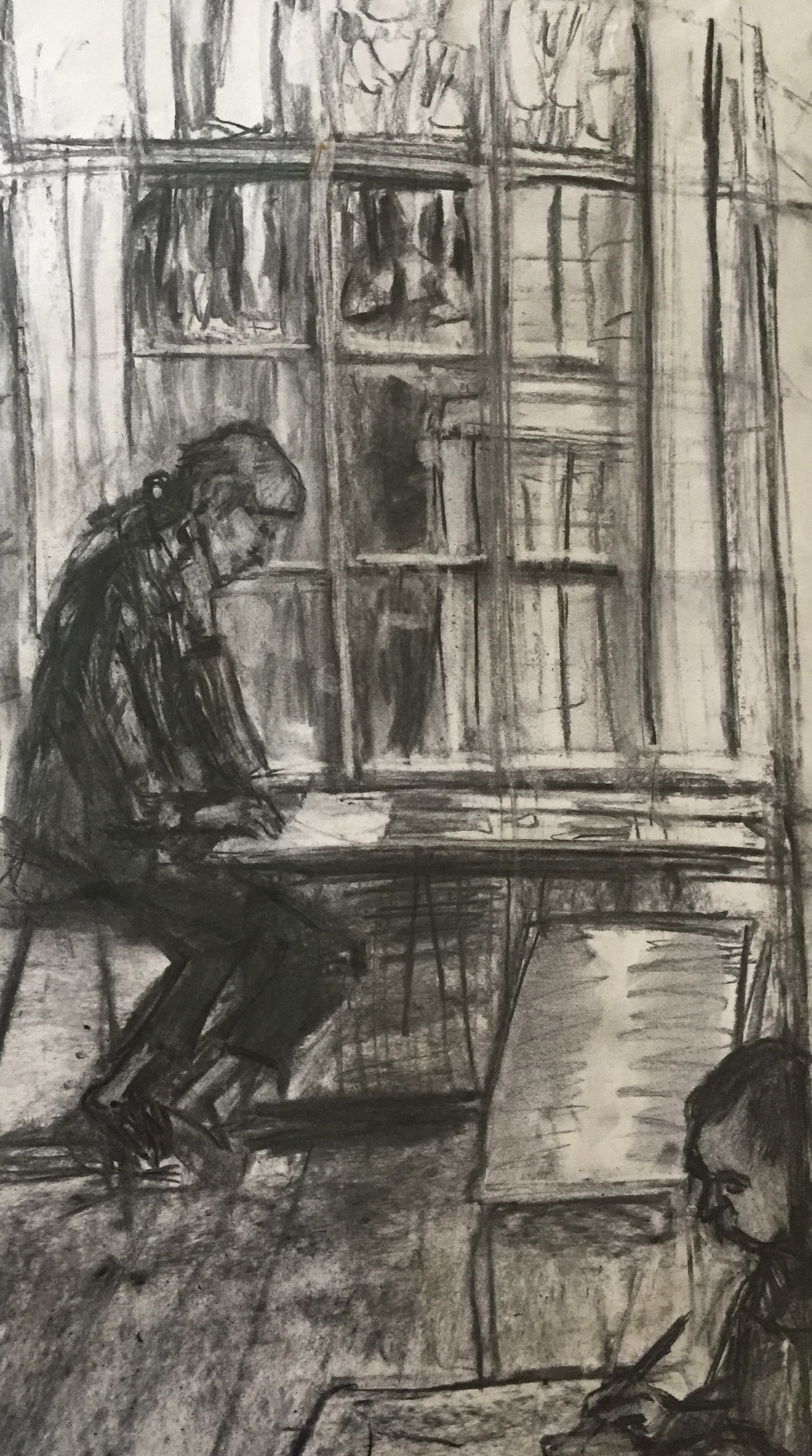 Studio 4   Charcoal on paper  by Sally Hyman