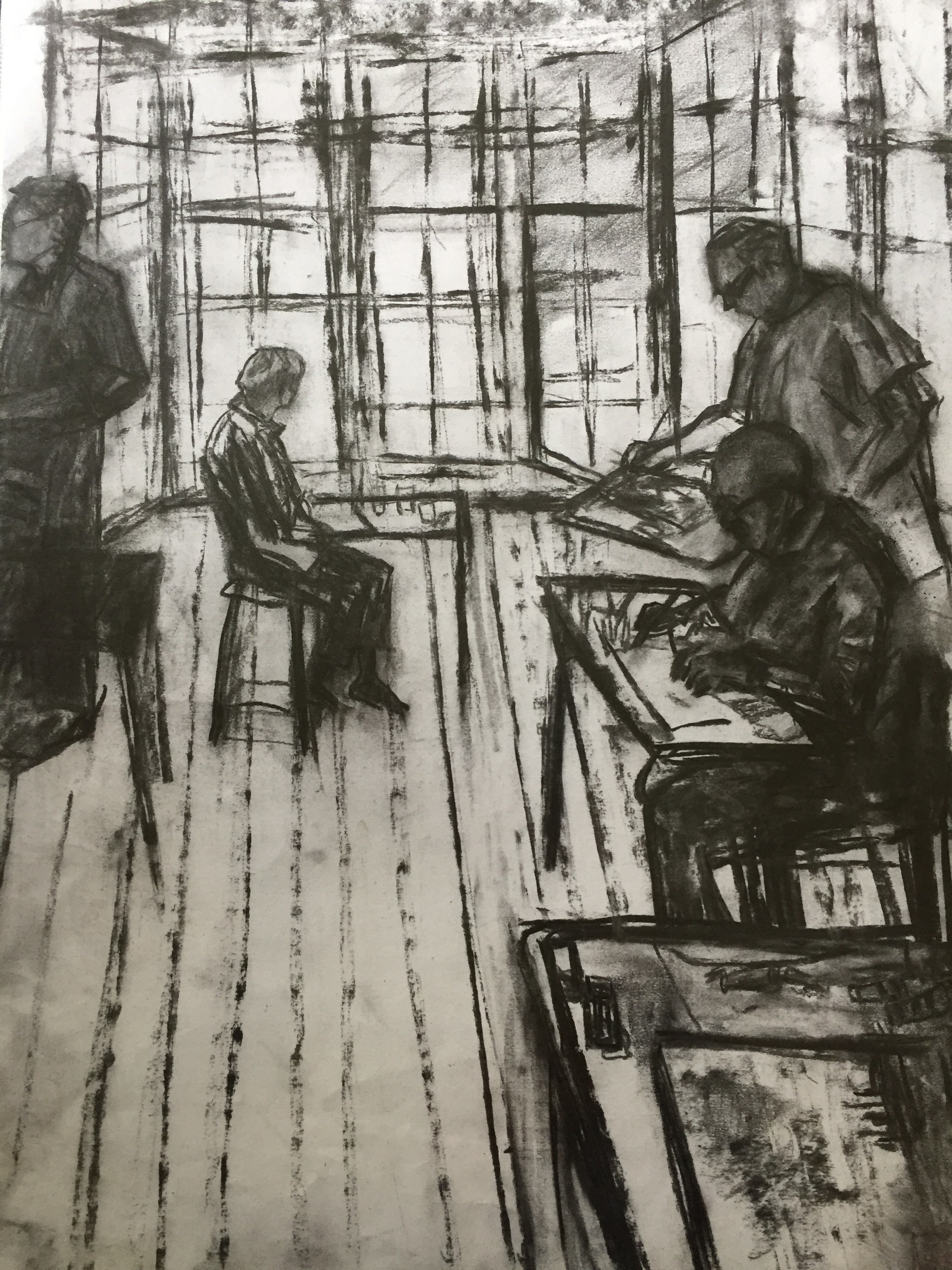Studio 1    Charcoal on paper  by Sally Hyman