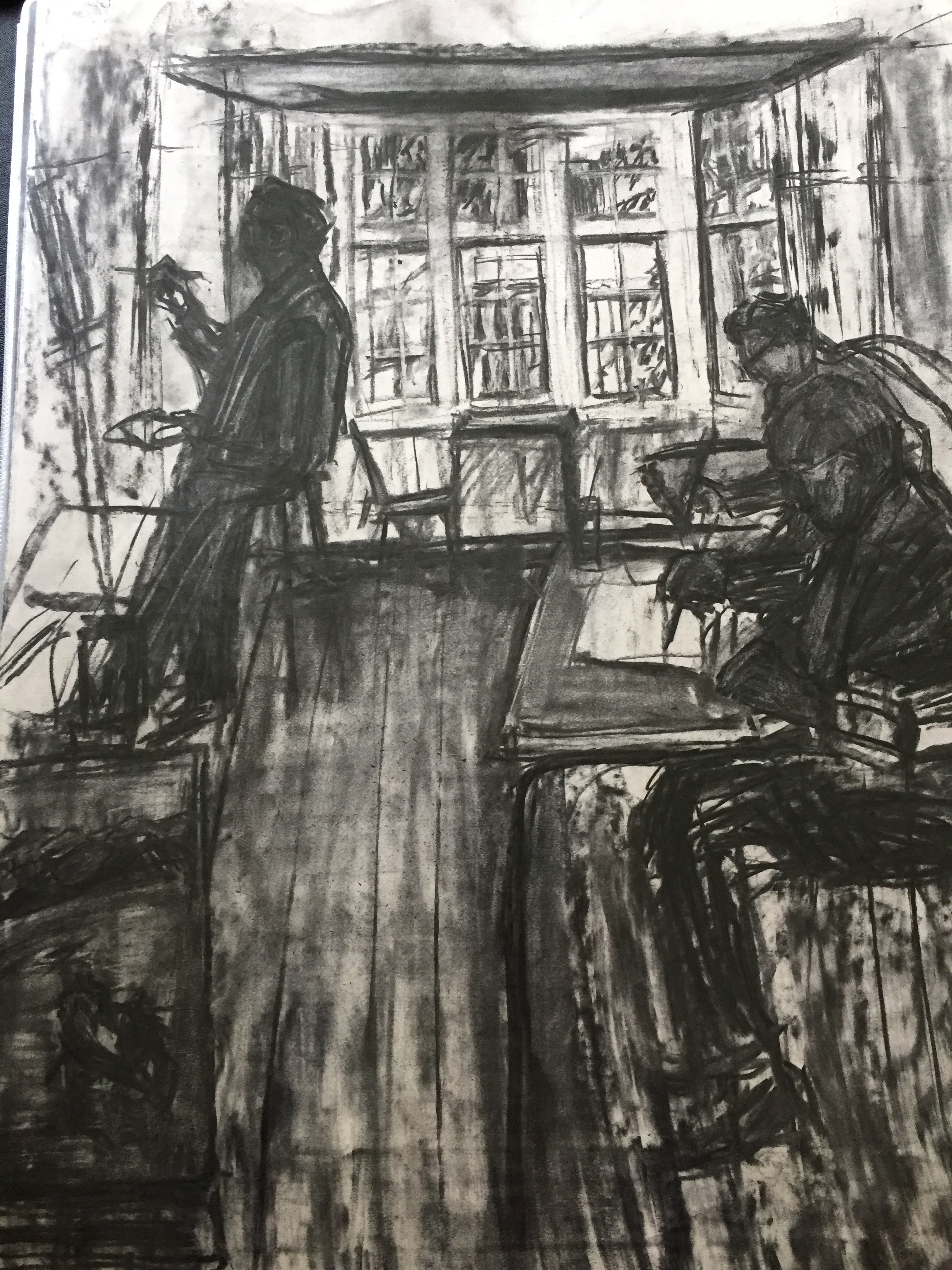Studio 2    Charcoal on paper  by Sally Hyman