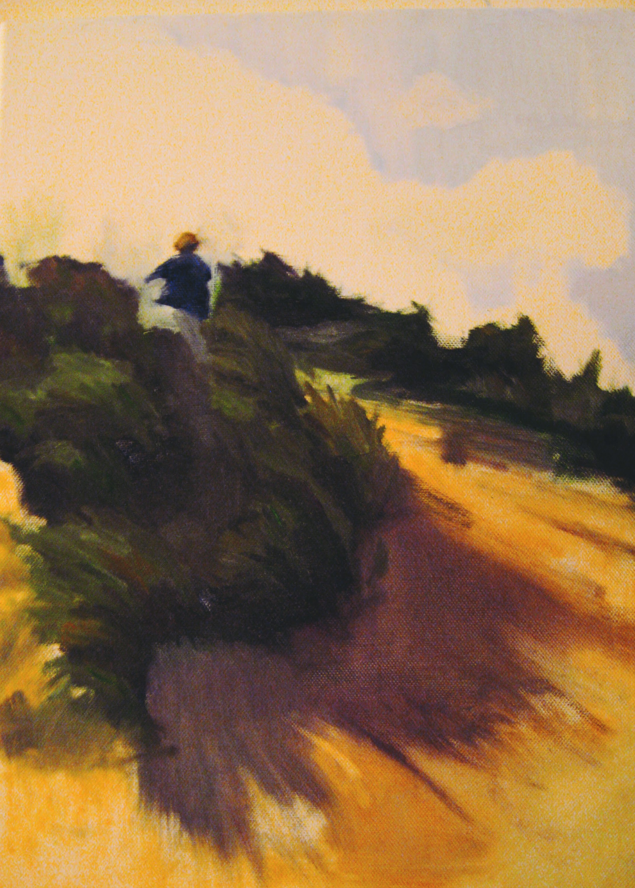 Sam on Dune    Acrylics on canvas  by Sally Hyman