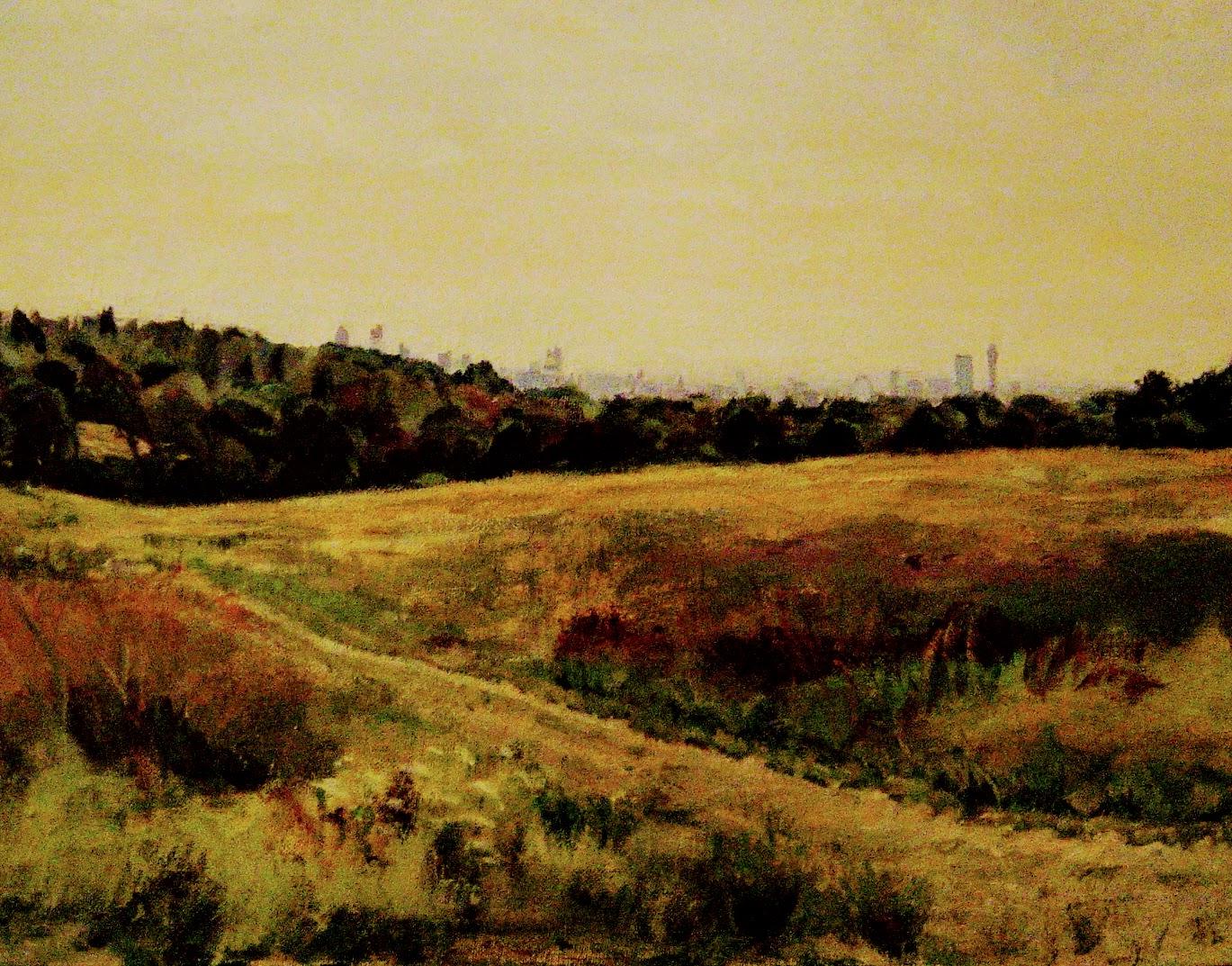 City Skyline from Hampstead Heath    Oil on canvas  by Sally Hyman