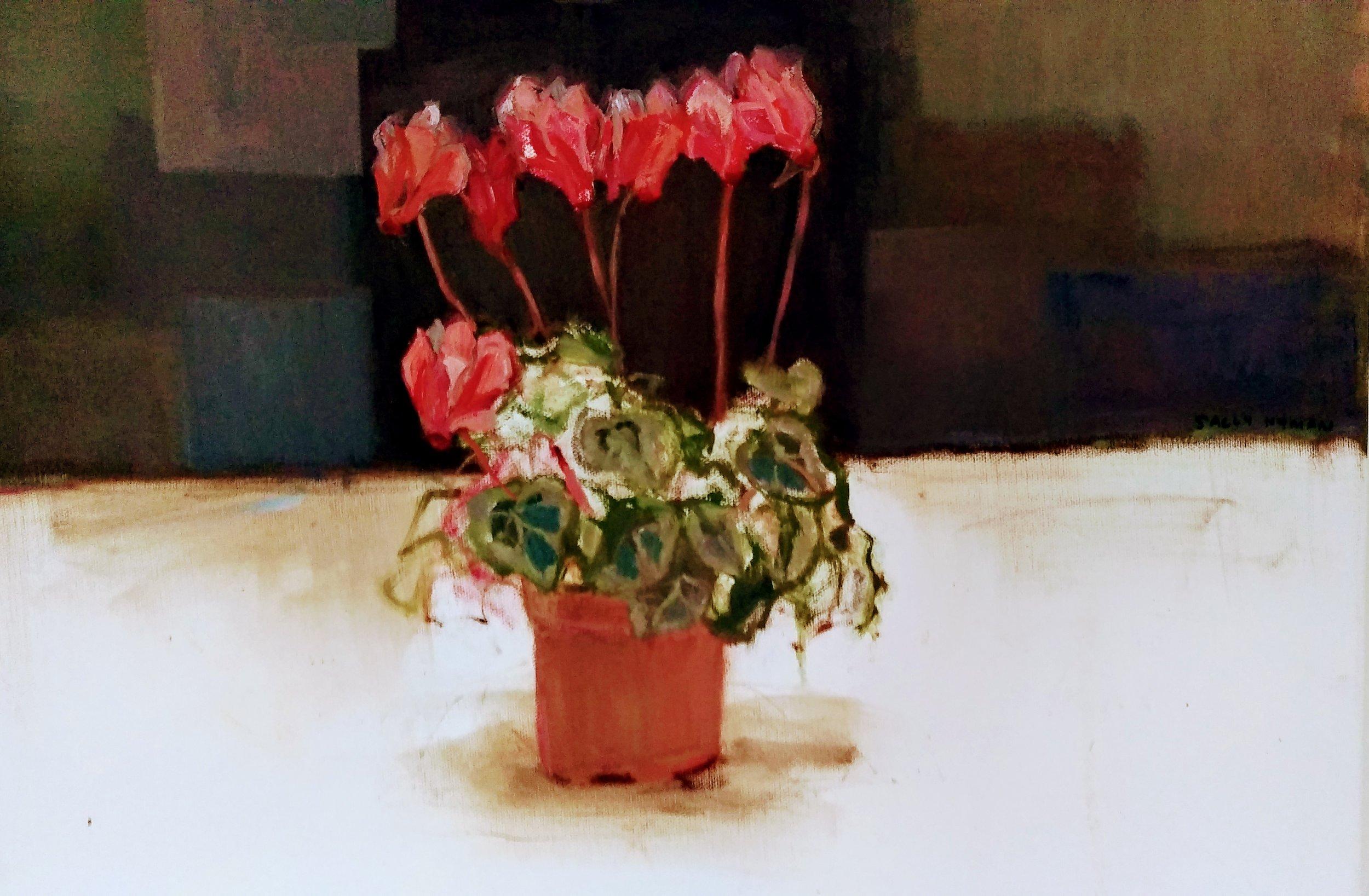 Cyclamen    Acrylics on canvas  by Sally Hyman
