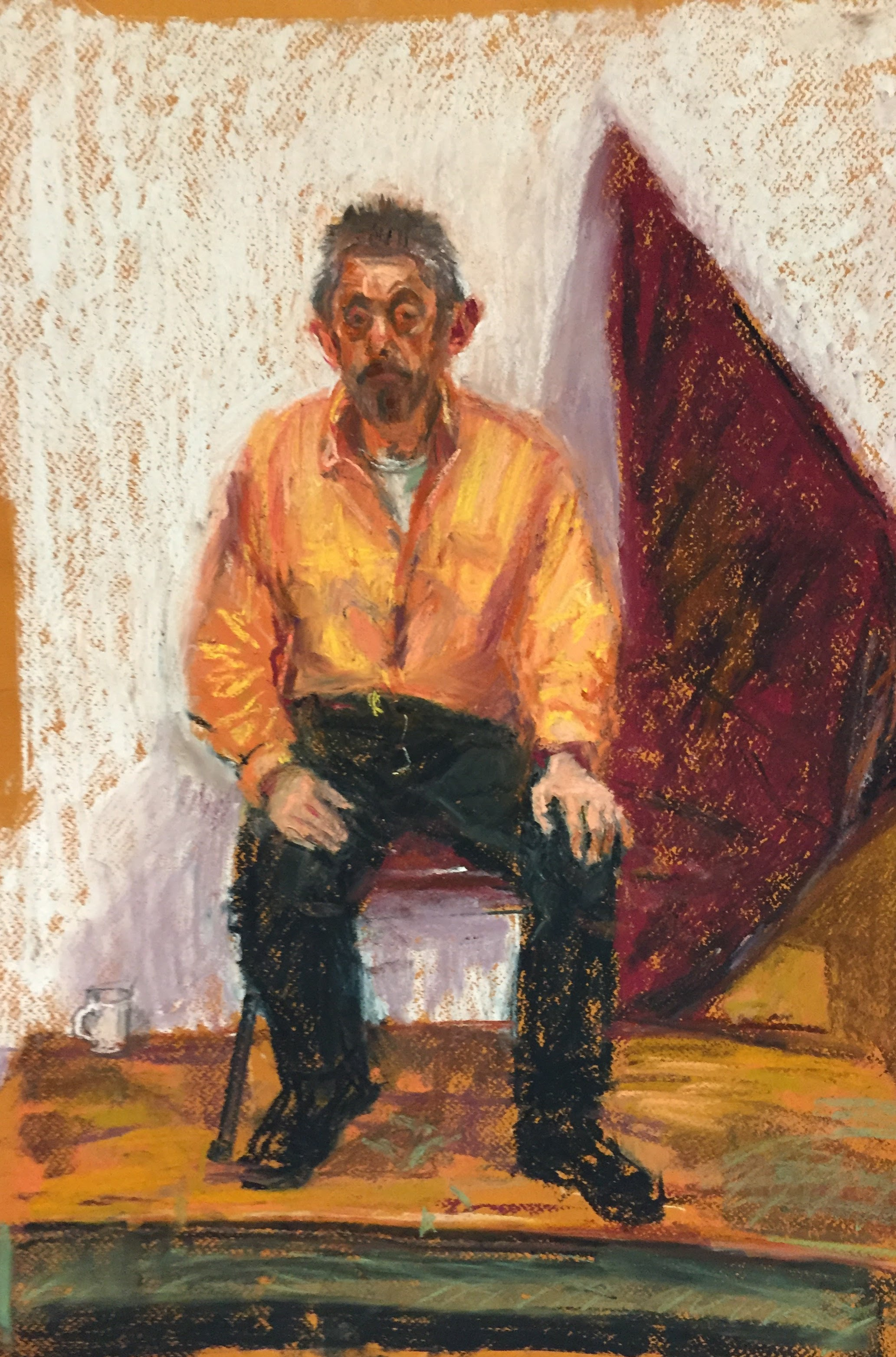 Clive in Orange Shirt 2   Unison pastels on paper  by Sally Hyman
