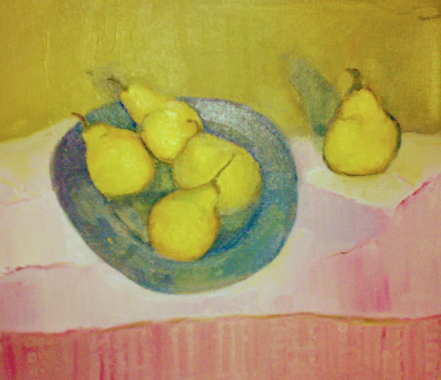 Pears on Cloth   Acrylics on canvas  by Sally Hyman