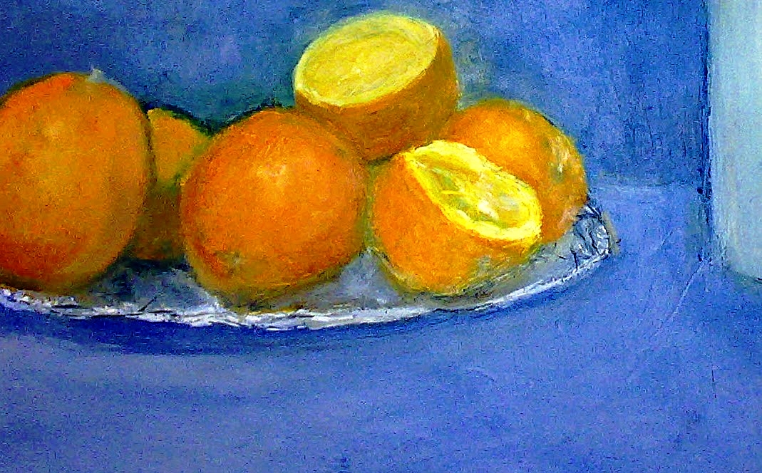 Orange and Blue   Acrylics on canvas  by Sally Hyman