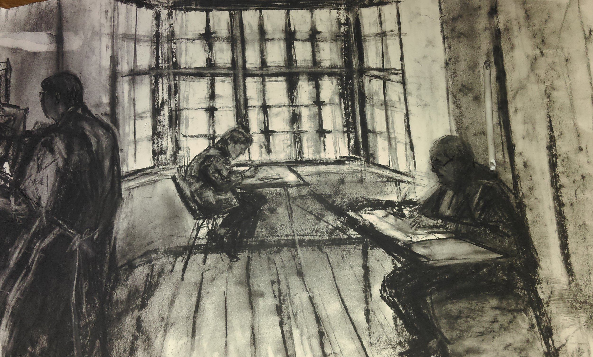 Studio 3    Charcoal on paper  by Sally Hyman
