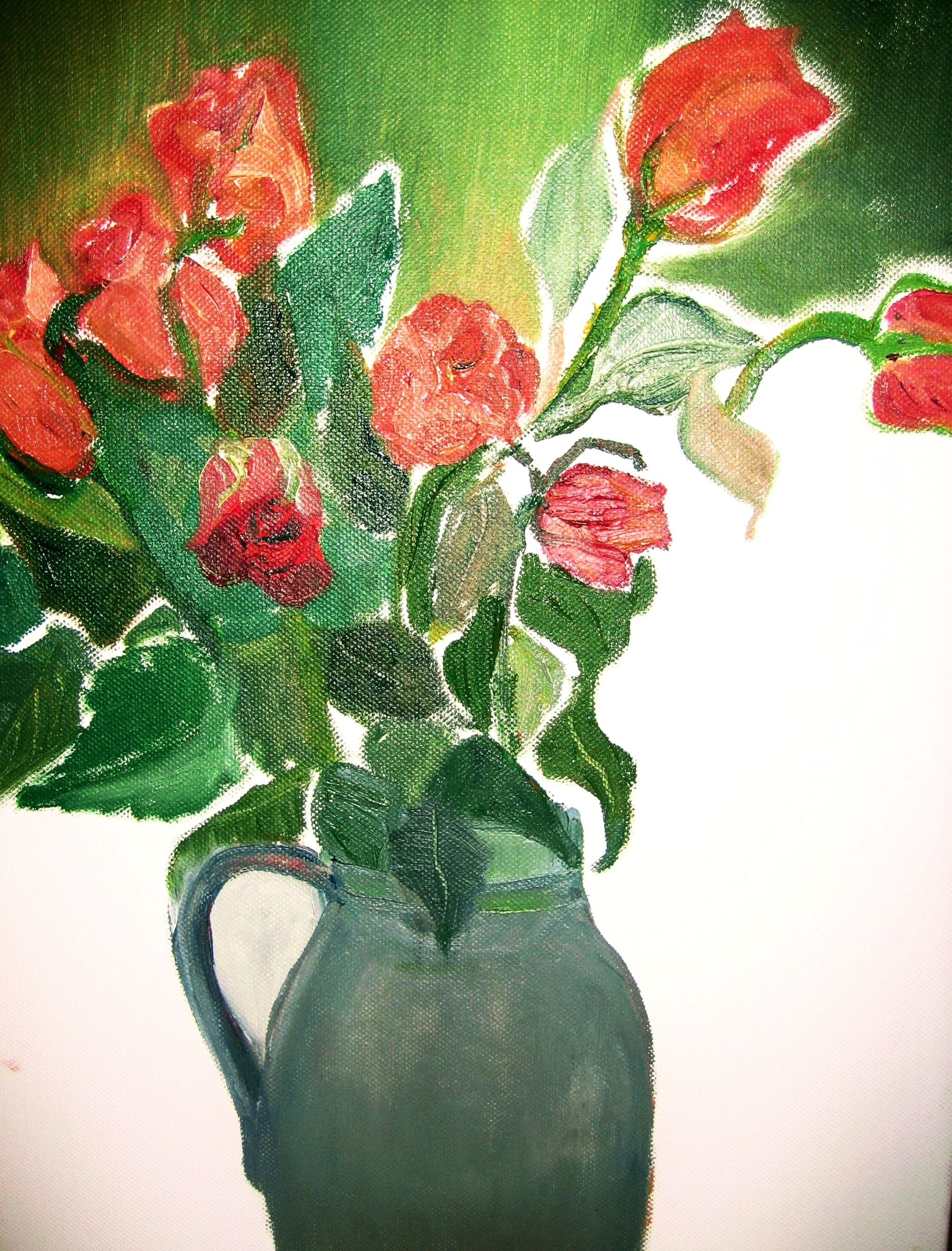 Roses in Grey Jug   Acrylics on canvas  by Sally Hyman