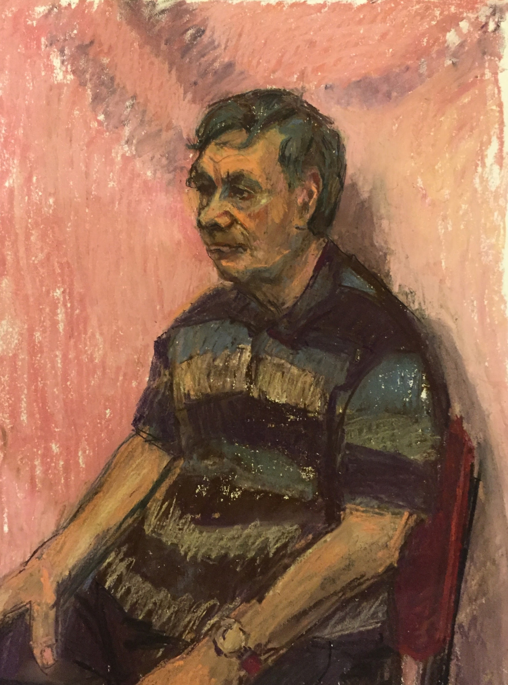 Ralph on Pink 1   Unison pastels on paper  by Sally Hyman