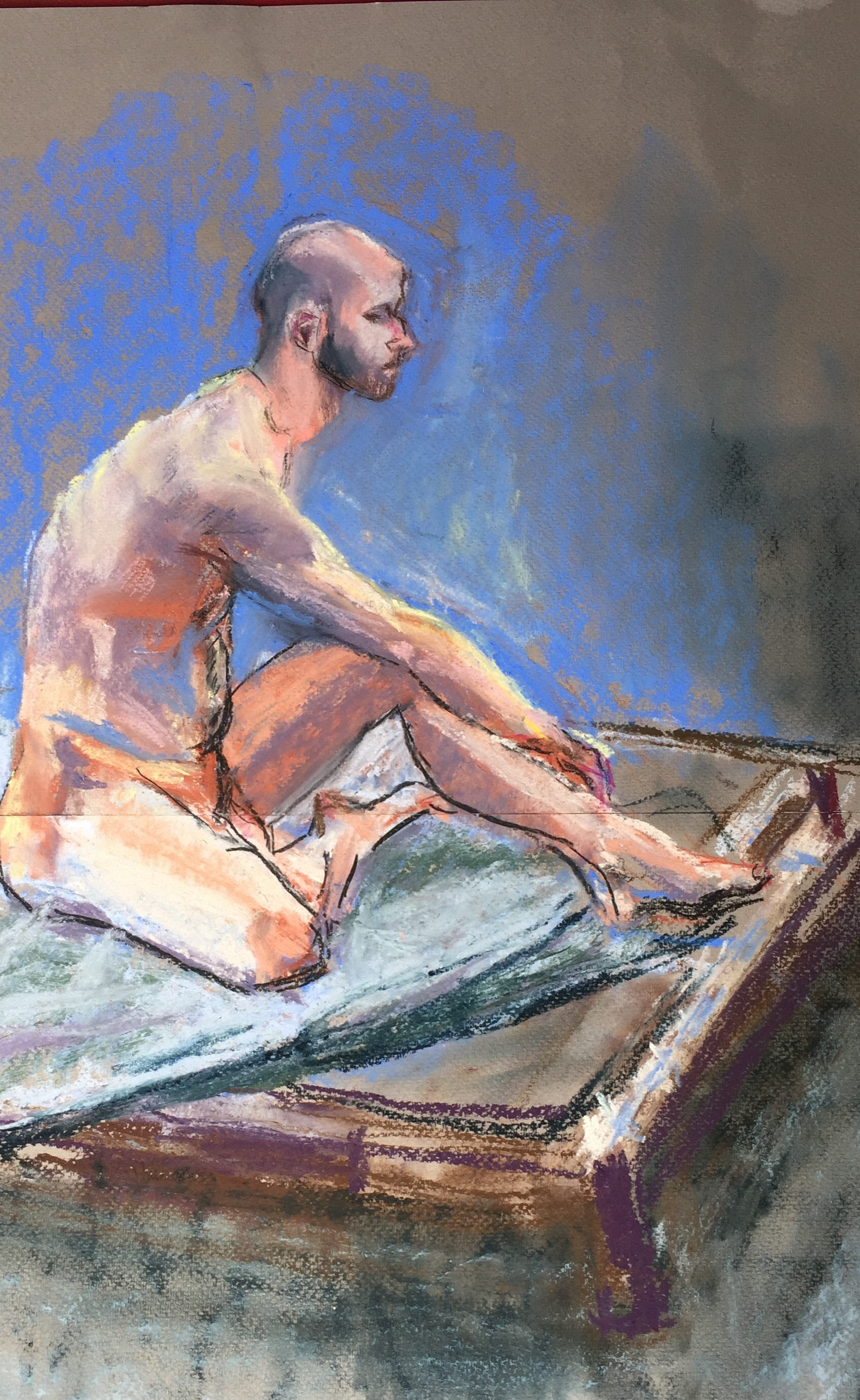Dominic with Elongated Neck     Unison pastels on paper  by Sally Hyman
