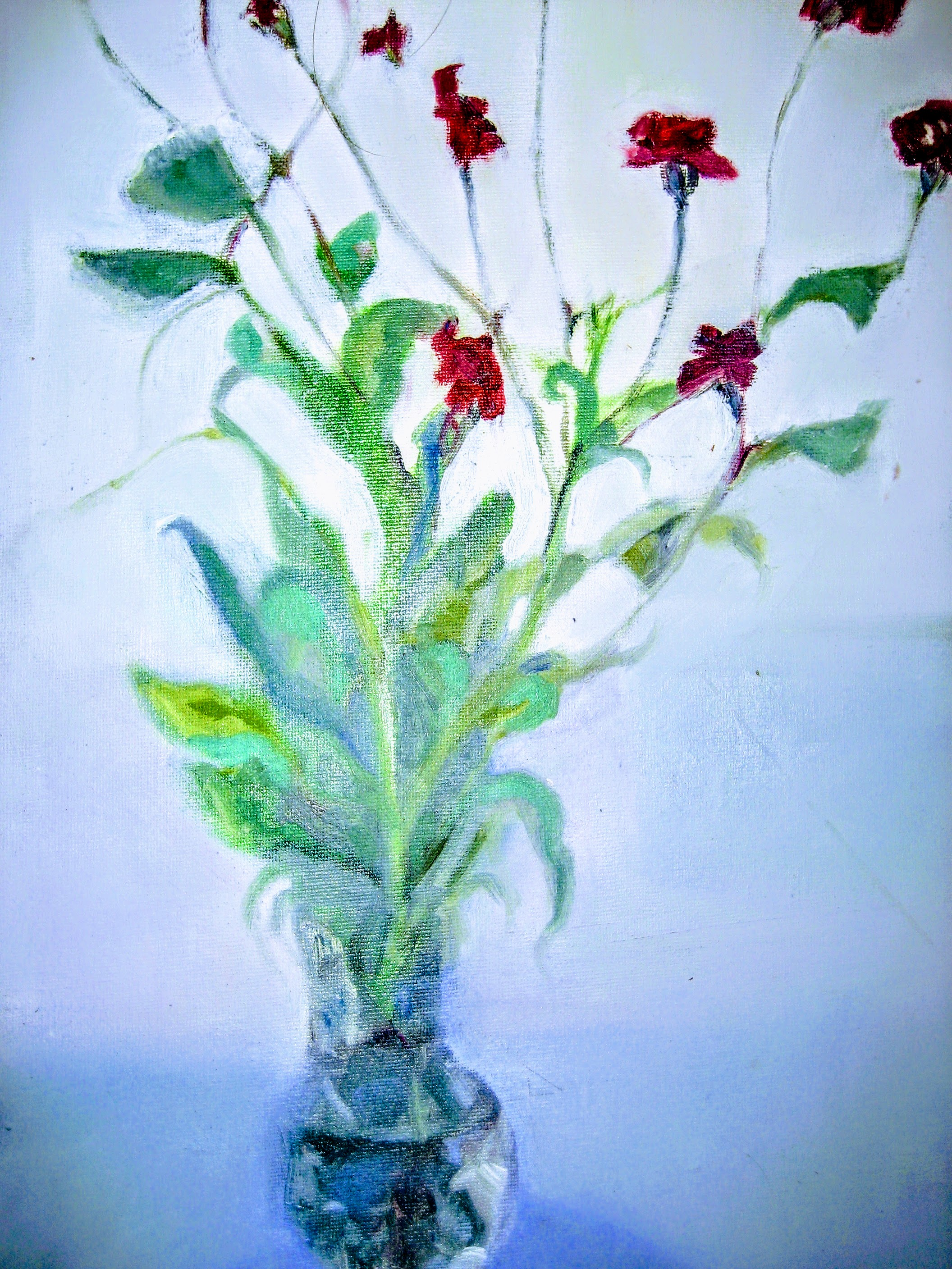 Carnations in Glass Jug   Acrylics on canvas  by Sally Hyman