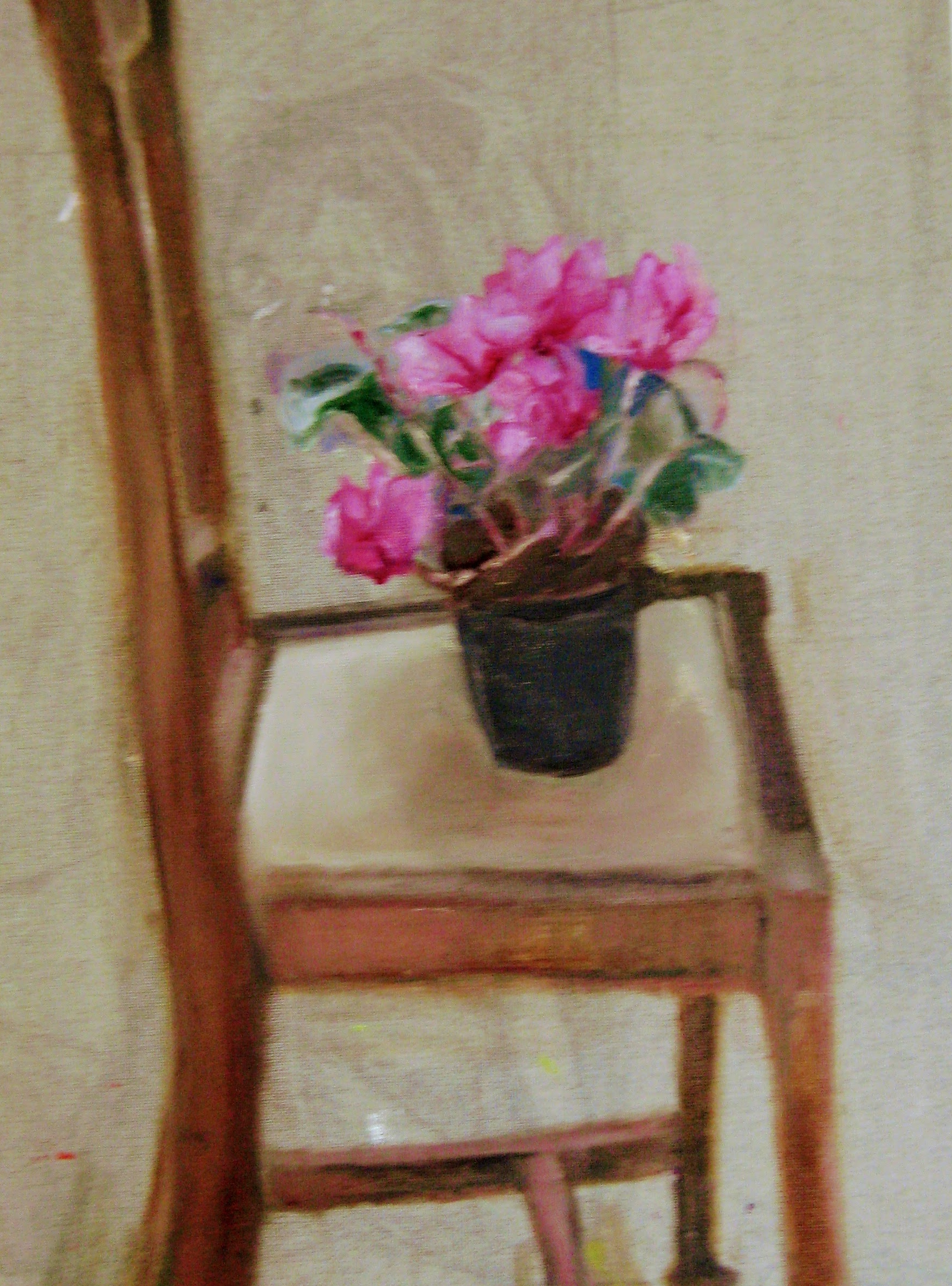Cyclamen on Chair   Acrylics on canvas  by Sally Hyman